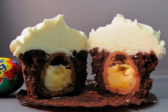 cad bury creme egg cupcakes