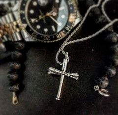 Baseball Bat Cross and Chain (Silver) #baseball # ...