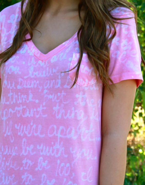 Love this! Watermark Tee Tutorial - can customize with any words/images you want. Could use Disney quotes or a simple Disney image to make shirts for your trip.
