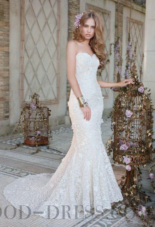 Ruffles Trumpet / Mermaid Sweetheart Chapel Train Lace Wedding Dresses