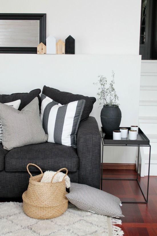 Essentials Kyle Floor Lamp White Grey Sofa Living Room Grey Couch Living Room Living Room Decor Gray