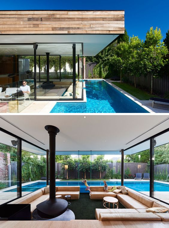 This Australian Home Features A Small Lap Pool In The Backyard And A Sunken Living Room That