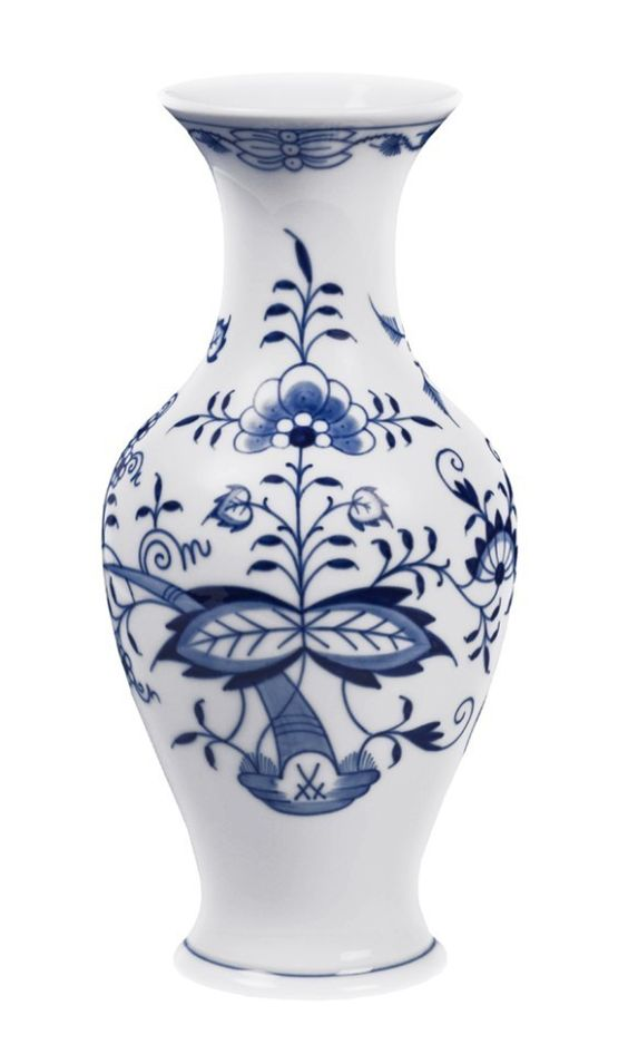 "Vase, Shape ""Neuer Ausschnitt"", Blue Onion, white rim, H 24 cm"