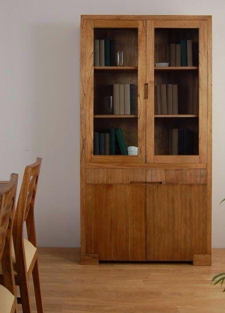 Vitrina urban alta de bambó blau, para salón/comedor, con puertas ...