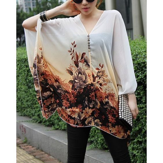Casual Flower Print Batwing Sleeve Women's Chiffon Maternity Blouse, OFF-WHITE, L in Blouses | DressLily.com