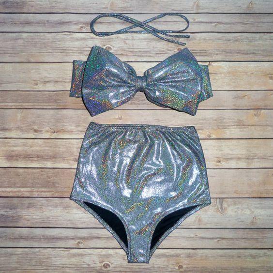 ❤ Bikiniboo Vintage Inspired Handmade High Waist Bow Bikini ❤    ❤ In The most Beautiful Holographic Sparkle Fabric ❤    This bikini is everything that