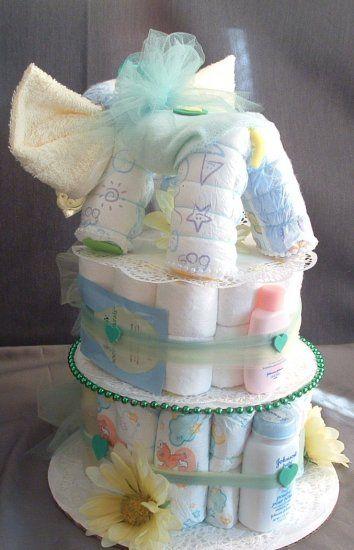 DIAPER ELEPHANT Baby Shower Decorations Boy Girl Diaper Cake Gift Green & Yellow