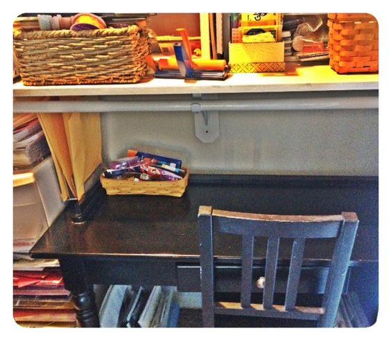 craft area in closet
