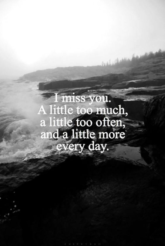 """""""I miss you. A little too much, a little too often, and a little more everyday."""""""