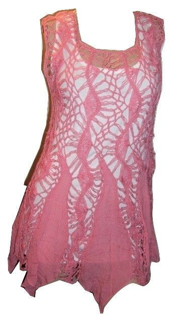 Womens or Teens size medium pink crocheted top with asymetrical hem Plus Gold tone bangles. $14.95. Summer sweetness.