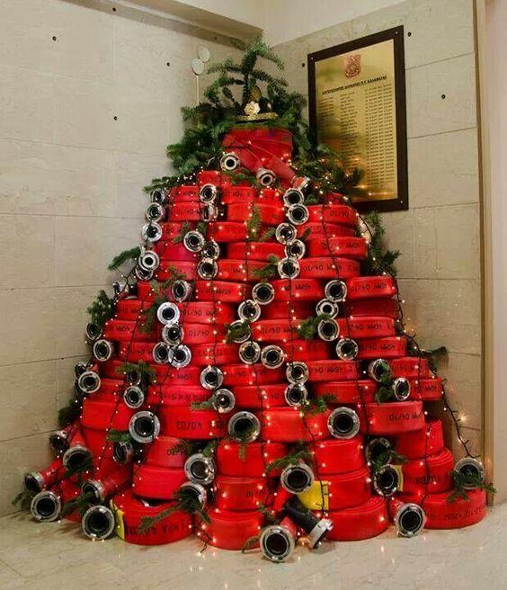 Fire Hose Christmas Tree Fire Hose Tree Pinterest Fire Hose - Christmas Trees On Fire