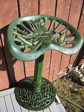 Vintage Cast Iron John Deere Tractor Seat Stool