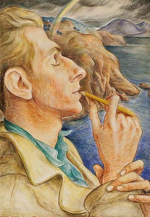 Paul Cadmus - The Poet, 1932. Egg tempera on paper