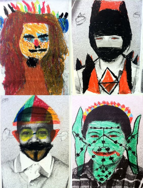 Selfportraits - Art project on elementary school in Holland by artist and teacher Nynke Deinema
