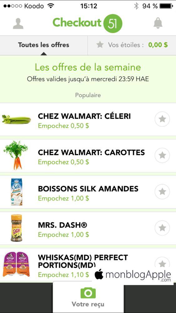Il existe une application qui permet d'économiser quelques dollars sur votre facture d'épicerie. L'application Checkout 51 propose à chaque semaine des coupons rabais sur certains produits. Lorsque vous achetez ces produits, vous n'avez qu'à ouvrir l'application, sélectionner les produits en promoti