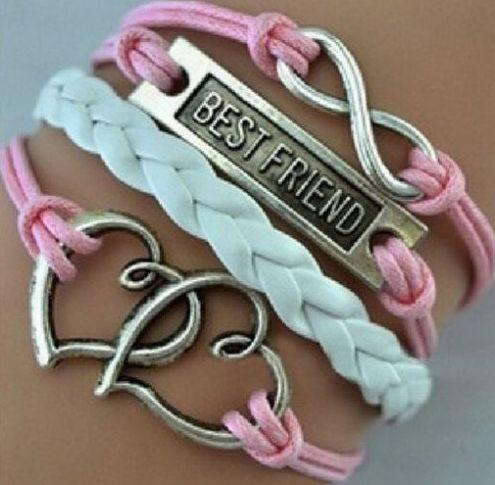 PINK AND WHITE HEART BEST FRIENDS MULTI LAYERED INFINITY BRACELET PRICE: $6.99 http://www.therusticshop.com/?store=JamiesJewels