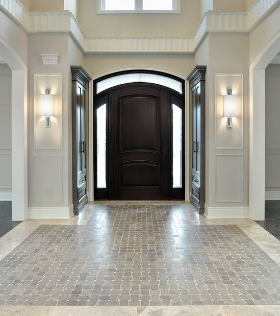 Squeeze Some Style With These Small Hallway Interior: Elegant : Floor Tiles : Wall Sconces : Door : Molding