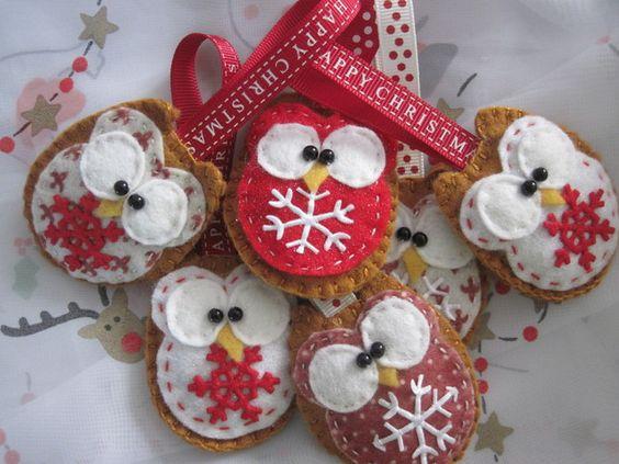Christmas felt owl decoration