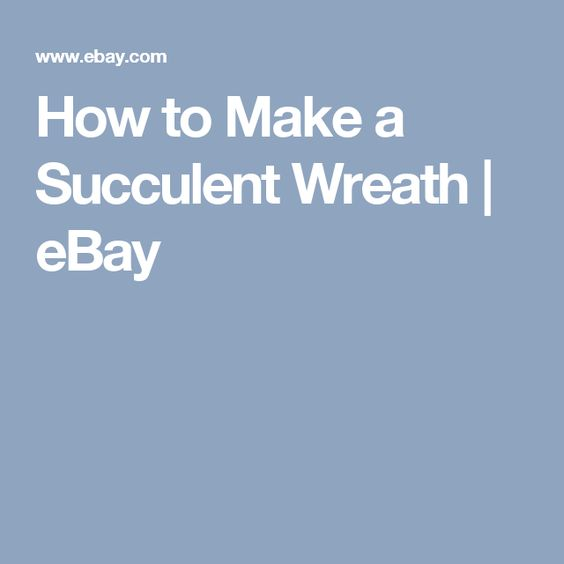 How to Make a Succulent Wreath | eBay