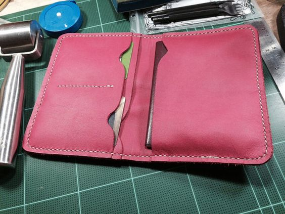 Deep Pink Leather Passport  Case / Passport  and card by ASTAPIE, $25.00