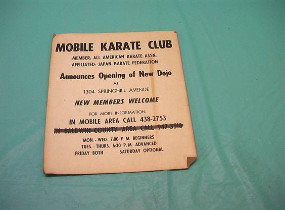 1960's Mobile Karate Club Alabama Japan Karate Sign Dojo Vintage Japanese Judo