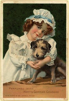 Cologne ad ~ girl with a cute little dog