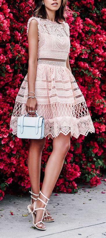 Blush party dress.