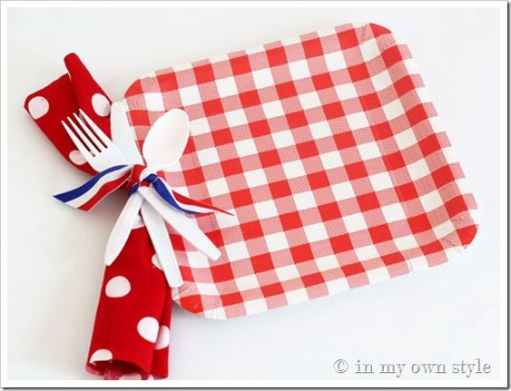 Punch a hole in plates and tie cutlery, napkins on to make it easier for guests to fill their plate!
