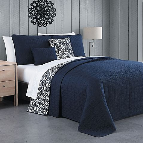 Would Flip This So The White Blue Side Is The Main Pattern Light Grey Walls Blue Quilt Bedding Home Gray Bedroom Walls