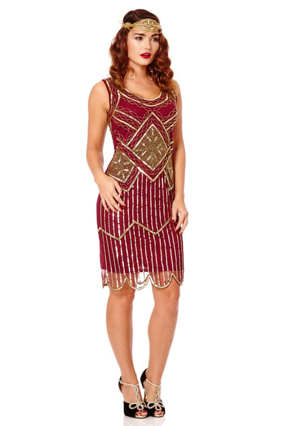 Edith wine Burgundy Gold dress Vintage 20s inspired Flapper Great Gatsby Downton…