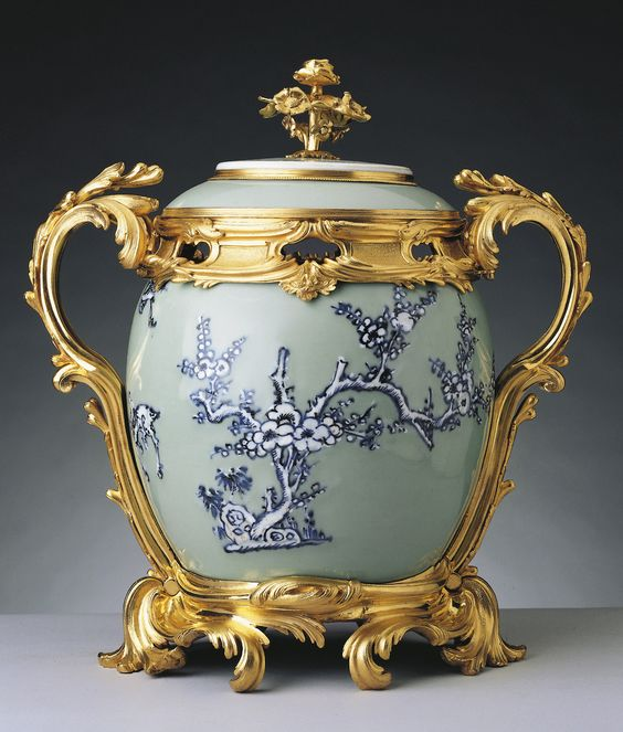 Pot-pourri vase  1740  This single Chinese celadon jar was probably originally known as a 'ginger jar'. It is decorated with deer and with pine, bamboo and prunus, the 'three friends of winter'.   In the inventory of Madame de Pompadour's possessions taken after her death in 1764...