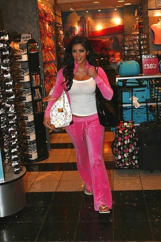 Kim Kardashian S Outfit The First Time She Met Kanye West S Mother Is So 2007 Kim Kardashian Outfits Kardashian Outfit Juicy Couture Tracksuit