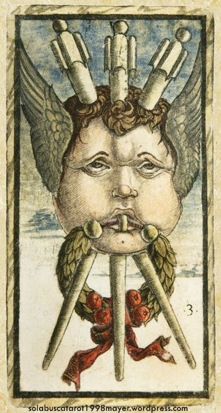 THREE OF WANDS, from the Sola-Busca Tarot (Italy 1491) faithful reprinted by Wolfgang Mayer (Germany 1998)