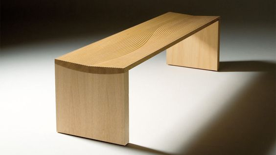 Indoor bench / contemporary / in wood - NAMI by Shigeyuki Hasegawa ...