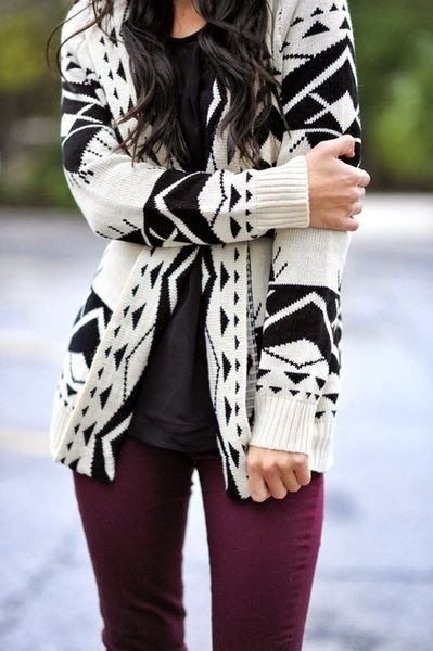 Black and White Aztec Cardigan With Burgundy Jeans: