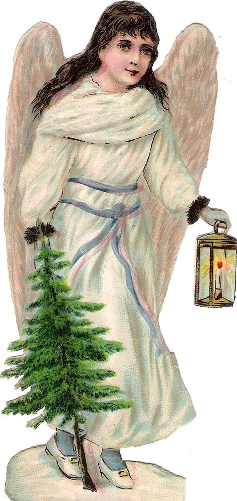 Oblaten Glanzbild scrap die cut Engel angel Winter Weihnachten Vogel XMAS MICA: