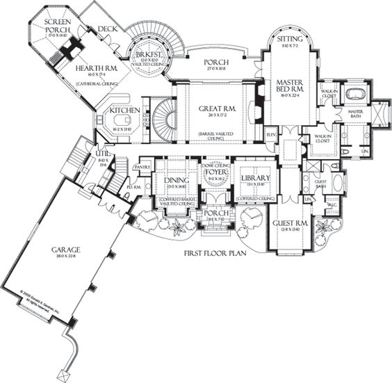 elevator by the master bedroom first floor plan of the