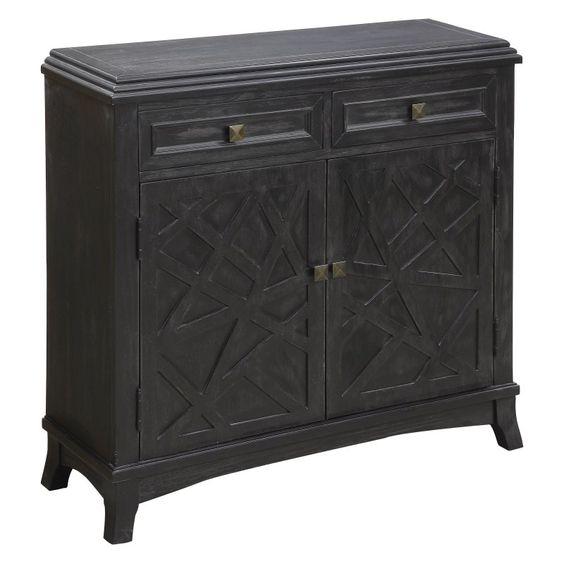 Coast to Coast 2 Door 2 Drawer Cabinet - Distressed Black - 91725