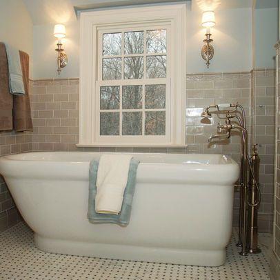 beige subway tile /blue bathroom | bathroom inspirations