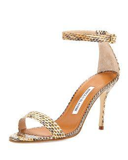 Manolo Blahnik Chaos Snakeskin Ankle-Strap Sandal, Natural