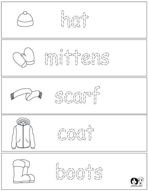 winter clothes worksheets english for children