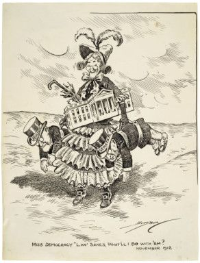 This cartoon shows Miss Democracy, with the White House tucked under her arm, carrying figures representing the House and Senate. In the 1912 elections, Woodrow Wilson was elected president, and the Democratic party gained a commanding majority in the House and a slim majority in the Senate. The Democratic victories were the result of a split in Republican party ranks produced by Theodore Roosevelt's independent Progressive (Bull Moose) party candidacy. (Sarah Gooding)