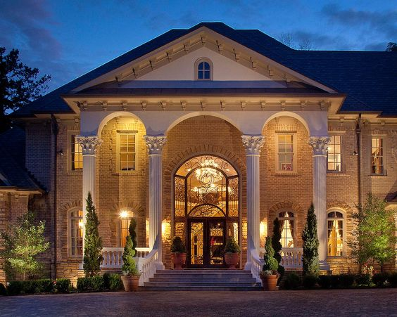 Gorgeous Architectural Design with Mansion Pillars, Light Brick, & Cobble Stone #dreamhome