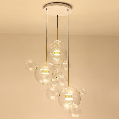 Everly Quinn Tribeca 3 Light Unique Globe Led Pendant With Rope Accents In 2021 Multi Light Pendant Glass Pendant Light Bubble Chandelier