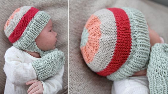 Knitting Pattern For Baby Hat And Mittens : free pattern: Winter-baby hat and mittens wearables for babies and children...
