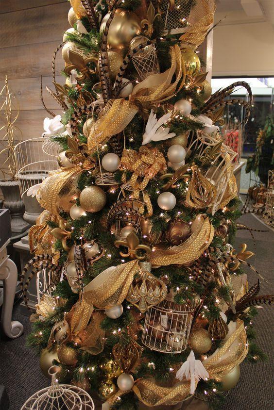 Malla Dorada Para Arboles Navidenos Arboles De Navidad Decorados Arbol De Navidad Dorado Decoracion Arbol De Navidad