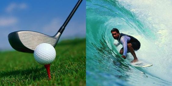Harder to do well: golf or surf?