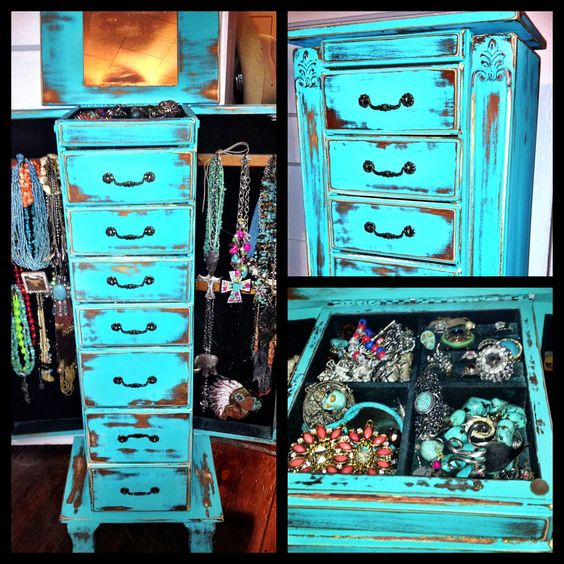 Distressed Turquoise Jewelry Box I Want Need This Diy Furniture Pinterest Painted