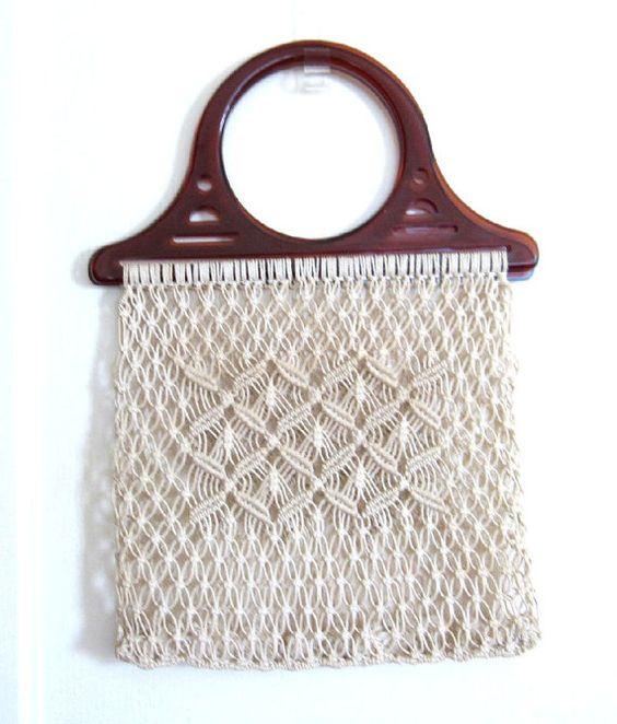 Macrame VINTAGE bolso bolso del mercado, compras bolsa de cordón blanco