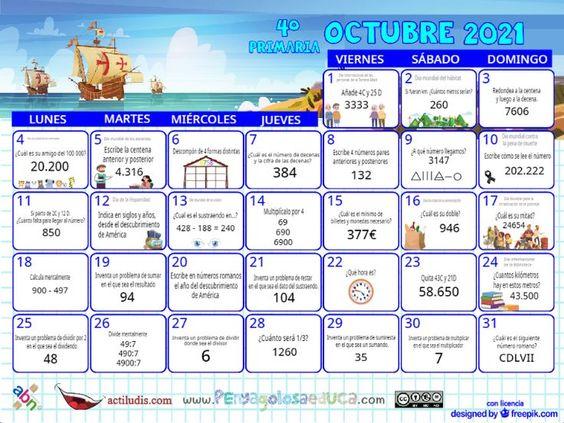 Calendario Cuarto ABN – Octubre 2021